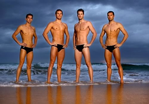 Are naked male swimmer body the